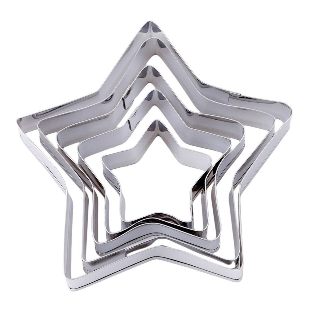 41339980eab7 Get Quotations · SONG LIN Pentagon Shape Silver Fruit Mold Stainless Steel  Cookie Cake Mold Set