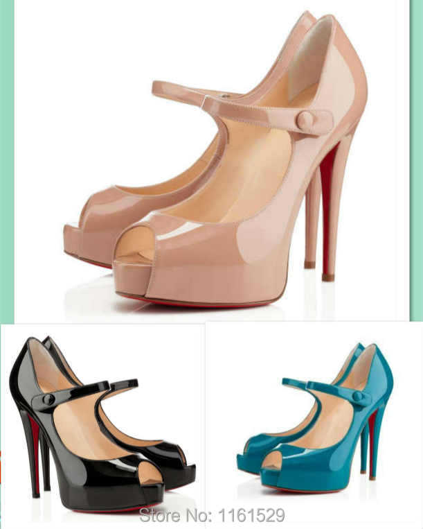 5eb384023da Buy Brand Mary jane shoes!Red bottom Mary jane straps shoes Jane Vendome  120mm peep toe patent leather pumps Black Nude Peacork Blue in Cheap Price  on ...