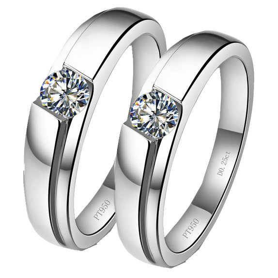 9ccf596104 Get Quotations · 0.5Ct Classical Rings for Lovers' Non-allergenic 925  Sterling Silver Platinum Plated Couple