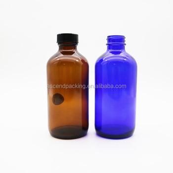 2460e5916431 8oz Amber Blue Glass Boston Round Bottles With Black Phenolic Lined Lids -  Buy High Quality 8oz Amber Boston Bottle,240ml Amber Boston Round ...