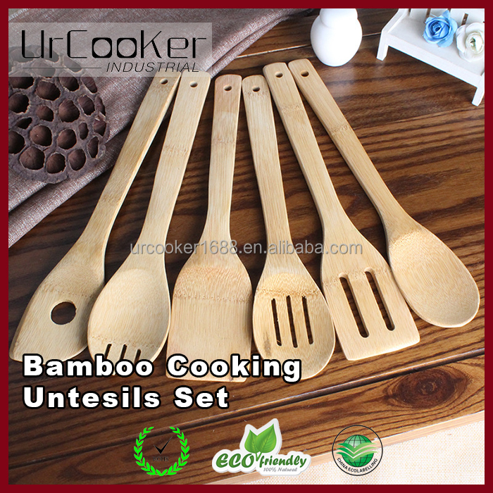 Natural green bamboo spatula 6pcs kitchen cooking tool
