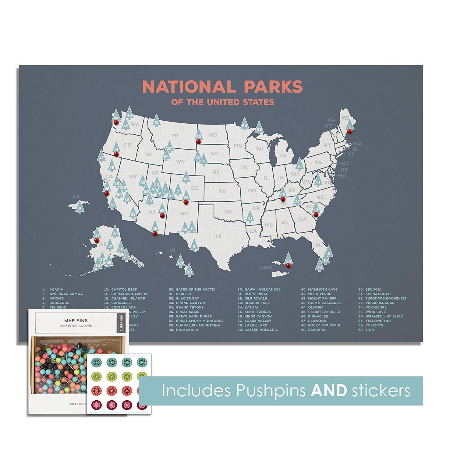 "Kindred Sol Collective Blue USA National Parks Push Pin Canvas Map - Personalize Mark Adventures Included Pins Stickers - Wall Decor Weddings, Anniversaries, Bedrooms Classrooms (24"" x 18"", Grey)"