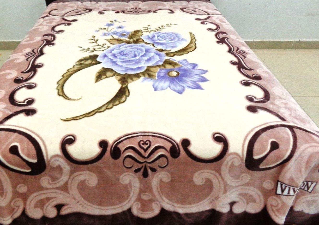 Vivalon Brown Roses (BM127) Thick Mink Plush Korean Style King Size Blanket - By Solaron