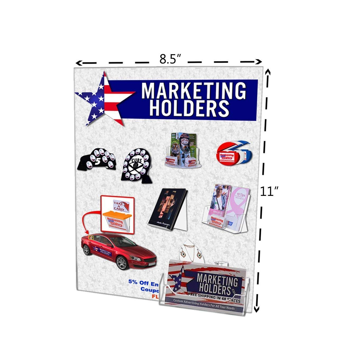 "Marketing Holders Wall Mount Acrylic Sign Holder Combination No Holes for 8.5x11 Sign & Business Card Pocket, 8.5"" x 11"", Lot of 100"