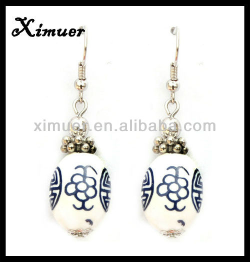Latest white ceramic bead heavy earring
