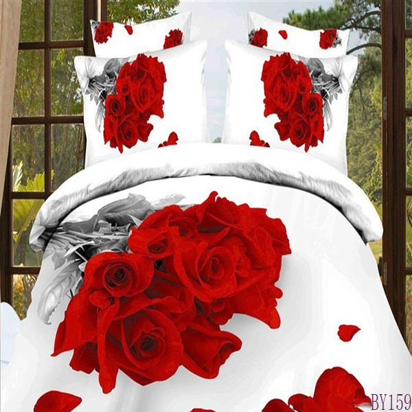 wholesale reactive printing red flower printed bedding duvet cover set