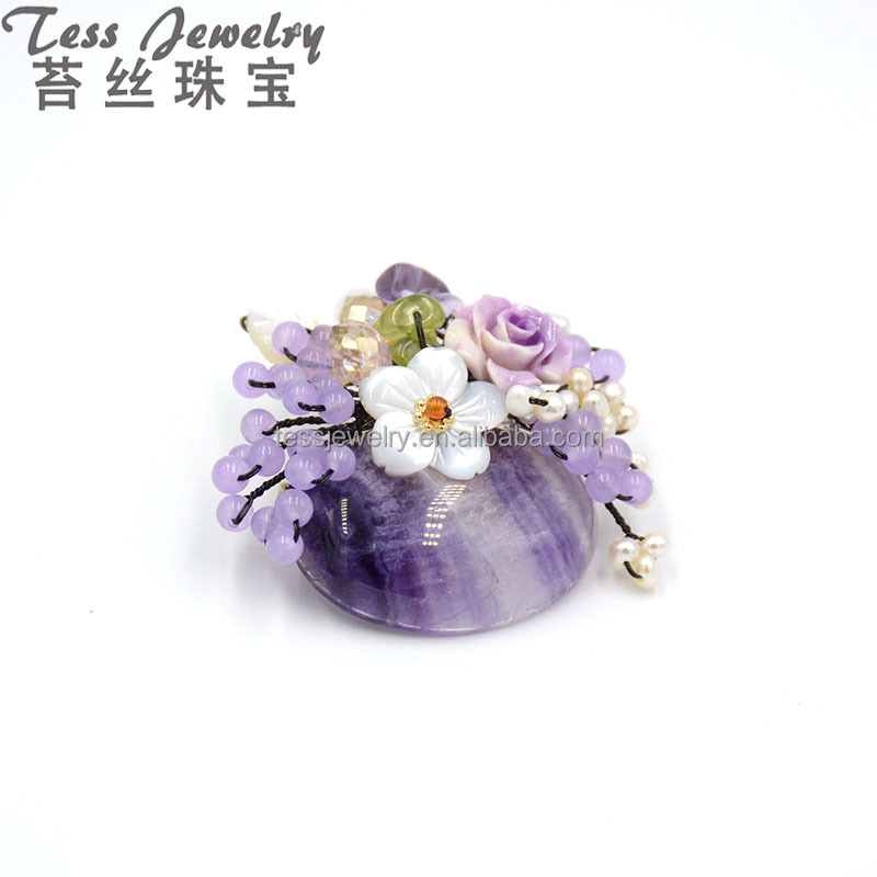 Amethyst Brooch Pin Fashion Jewelry Stones Plant Nature Beautiful Brooch For Women