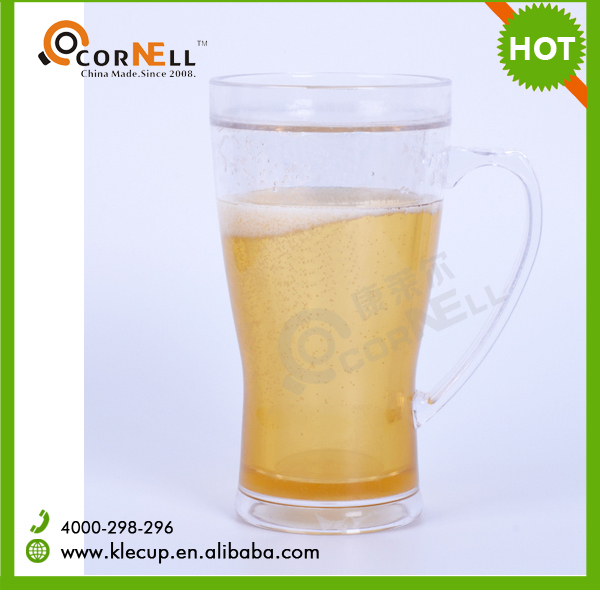 Wing Style Special Handle Custom Design Double Wall Plastic Ice Beer Mug