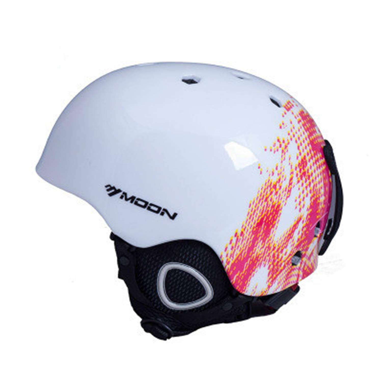 nICE Red Graffiti PC EPS Material ski Helmet, Detachable, Adjustable, Velvet Lining with Venting, Windproof, Warm, Light and Stress-Free one-Piece ski Helmet