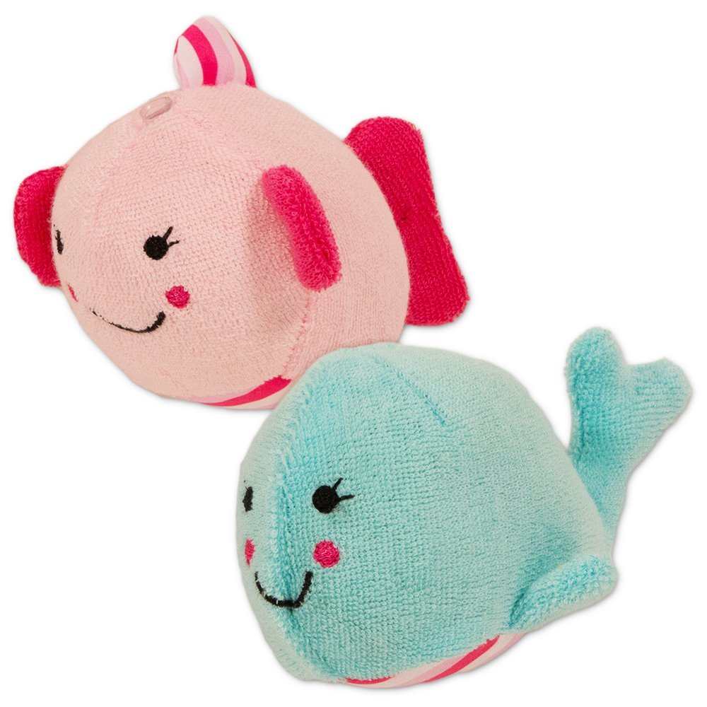 Carter's Bath Toys Set For Toddlers Baby -- 2 Bath Sponge/Squirters (Whale, Fish)