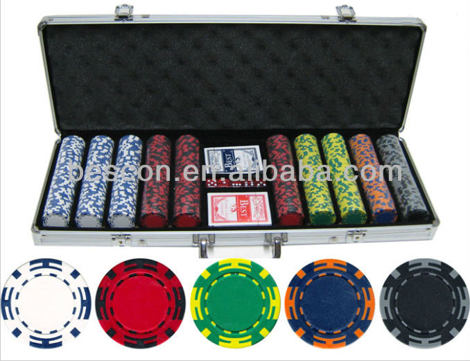14 gram 500 stuk z gestreepte clay poker chips set