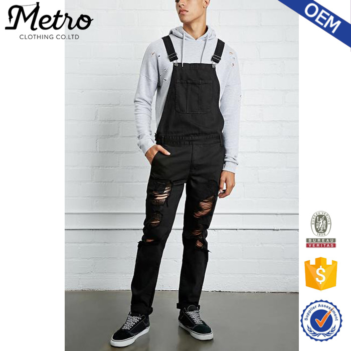 Wholesale Black Color Custom Style Distressed Denim Overalls for Men