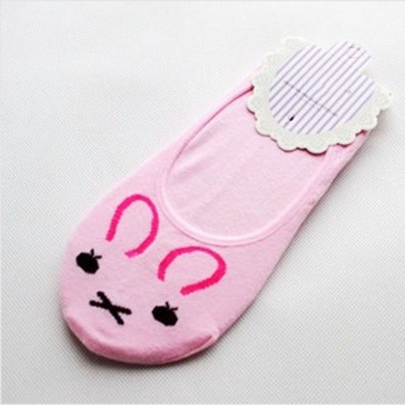 Hot Women Invisible Cotton Socks No Show Nonslip Loafer Liner Low Cut Cartoon Animal Lady Necessity