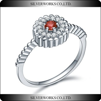 Classic Silver Wedding Rings With Ruby Stones, red coral ring designs Rings