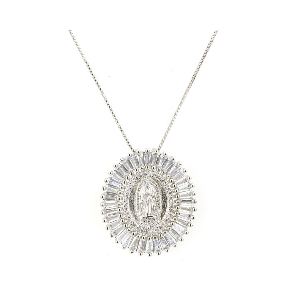 Gold Plated Crystal Zircon drilled Nuestra Senora De Guadalupe Medal Virgin Blessed Holy Mary Pendant Necklace, As is or customized