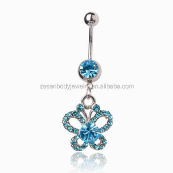 Butterfly Blue Diamante Crystal Ball Delicate Body Navel Piercing Bar Belly Ring Buy Body Navel Piercing Piercing Bar Belly Ring Butterfly Navel