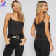 Clothing women strappy lace trim black cami top