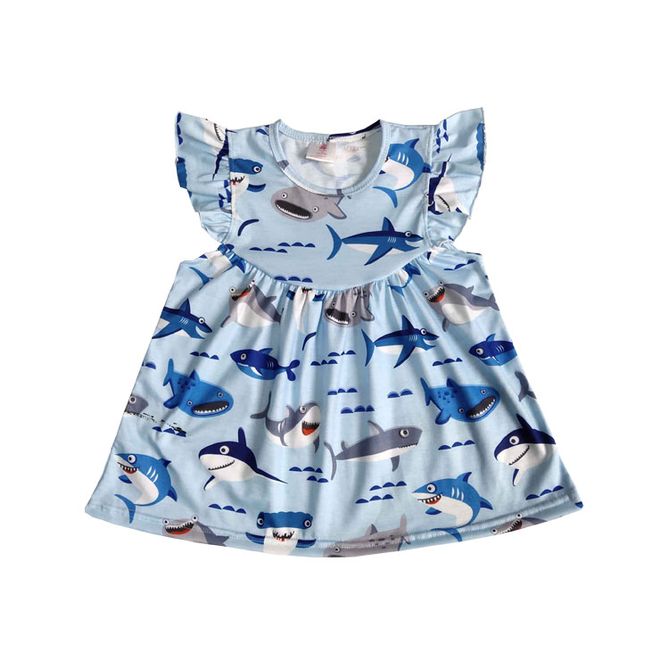 2019 Adorable Baby Girls Frock Design Dress Boutique Kids Cartoon Pearl baby girls dress, As picture