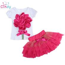 Dievčenský komplet tričko s kvetinkou a sukničkou z Aliexpress
