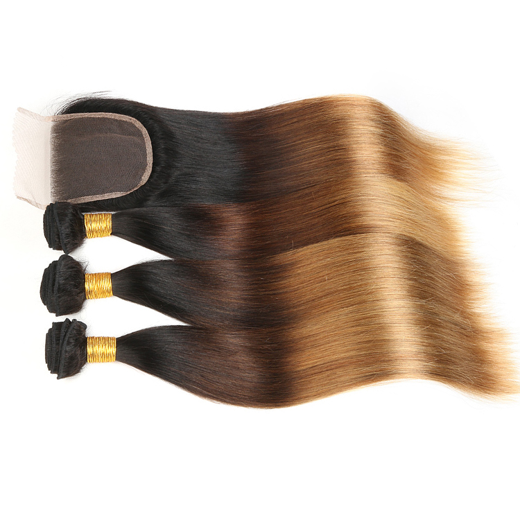 Купить со скидкой Ombre 3 Tones Color 1B/4/27  Virgin Brazilian Silky Straight Human Hair Weave Bundles With Closure