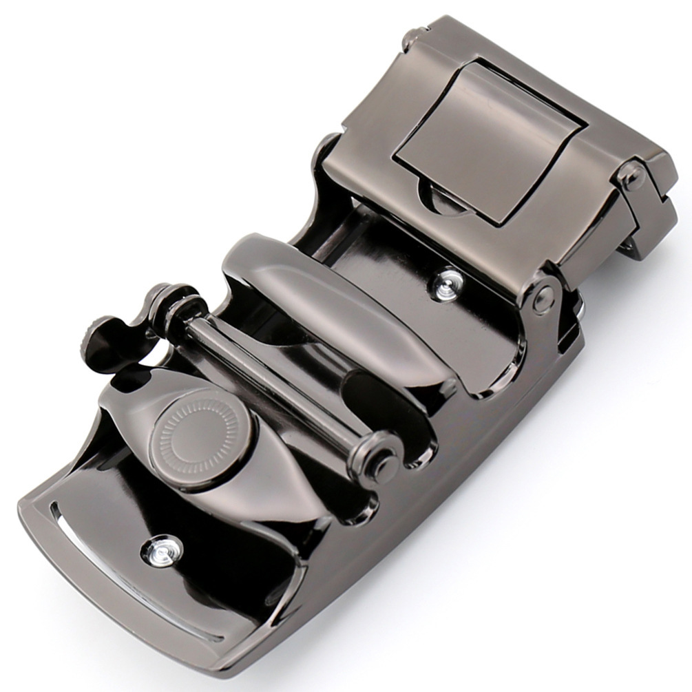 Men's Solid 35mm Buckle Automatic Ratchet Leather Belt Buckle