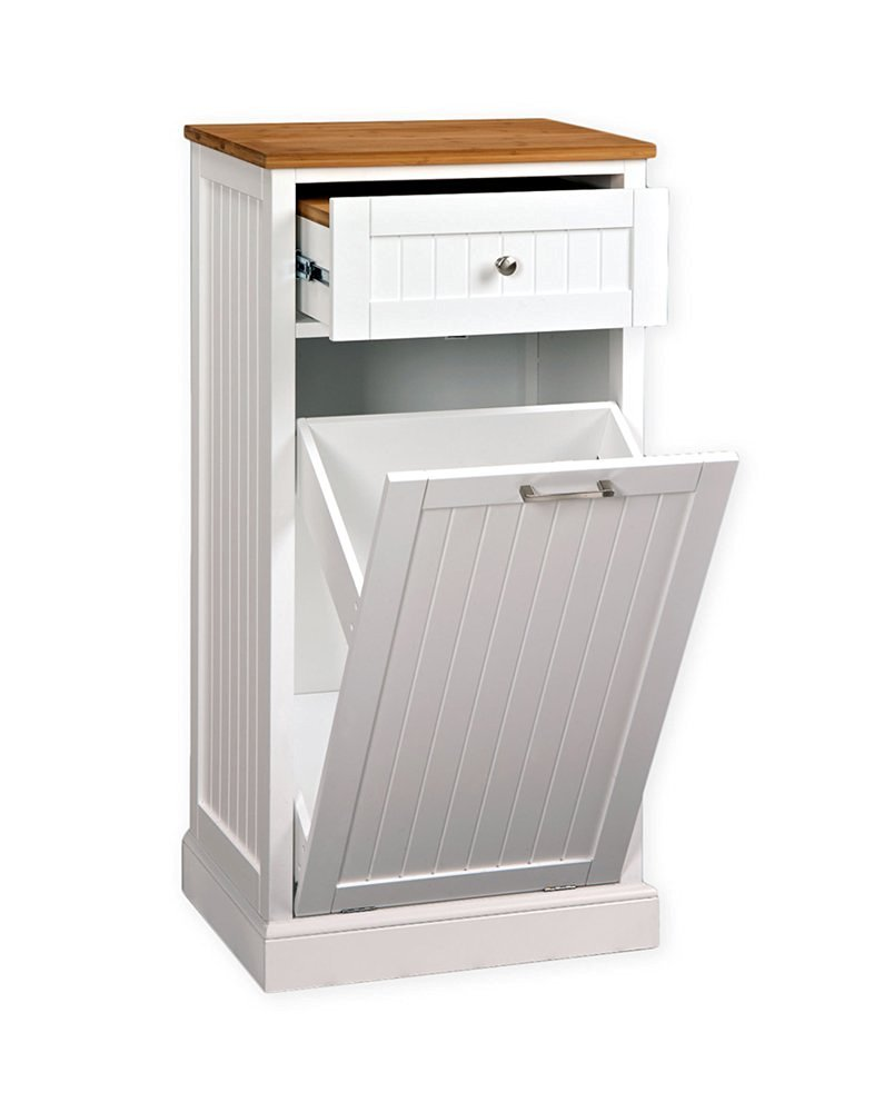 White Wood Kitchen Pantry Utility Microwave Corner Stand- Efficient Compact Storage With Hidden Trash Cabinet- Space Saver Sturdy Durable With Upper Storage Drawer and Organizer- Very Affordable