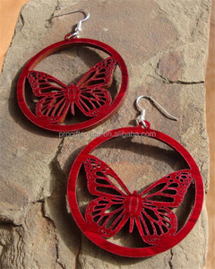 New desgin Sustainable Wooden Earrings Monarch Butterflies made in China