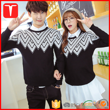 Fashion jacquard pullover couples sweaters