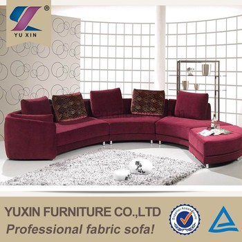U Shaped Colorful Sectional Couch Round Corner Sofa