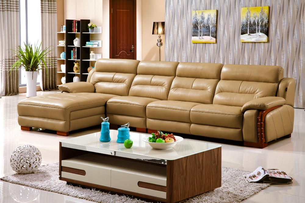 Furniture living room sofa set L shape synthetic leather victorian