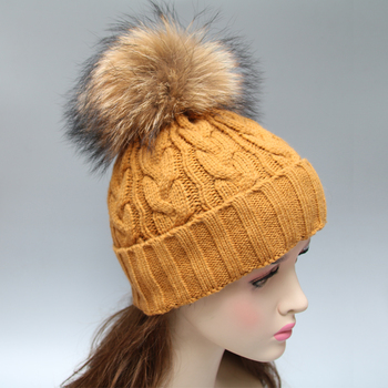 100% acrylic knit winter hat for men women with hand made fur ball on top 051cc384791