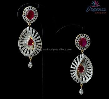 Exclusive American Diamond Cubic Zircon Earring Fancy Indian Style Designer Cz