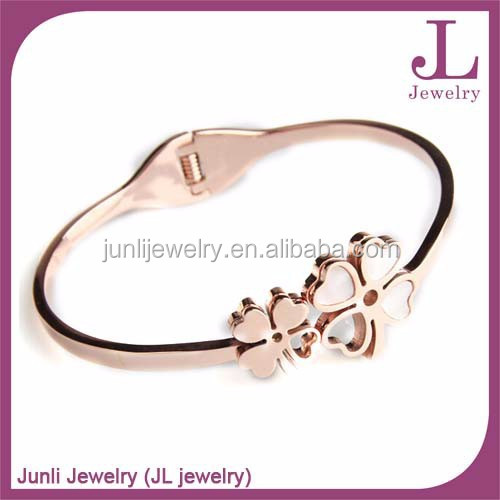 Rose Gold Plated Stainless Steel Bangle 4-Leaf Clover Female Bangles