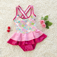 BOM5004 Girls Swimwear One Pieces Swimsuit Kids Ruffled Swimming Suit For Girl Children Bathing Suit