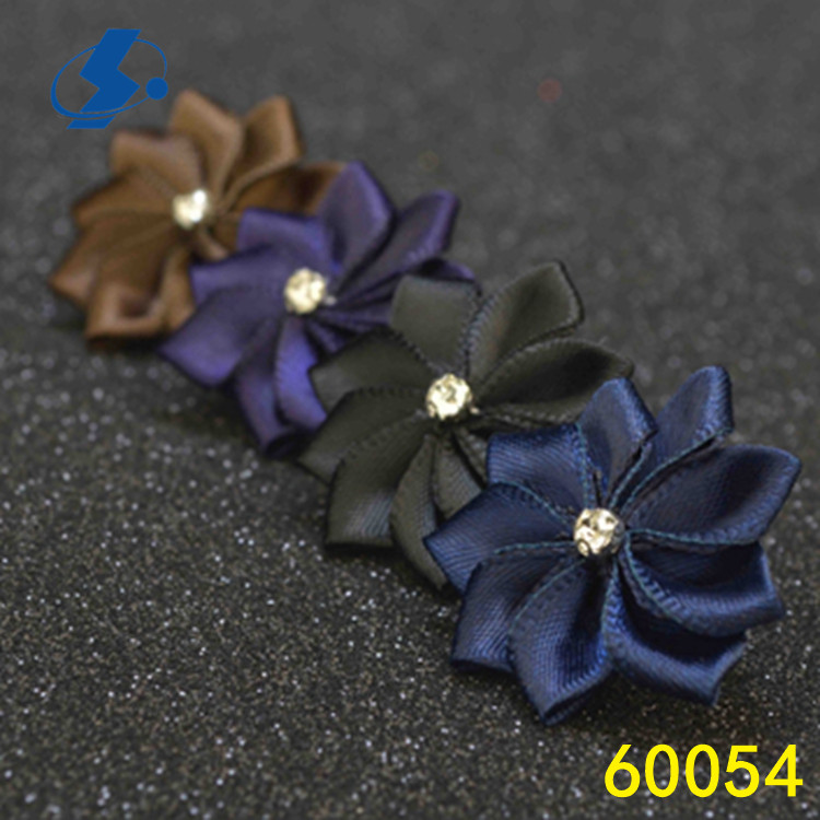 Modern Style Colorful Wedding Corsage High Quality Custom Lapel Pin Satin Fabric Flower Brooch