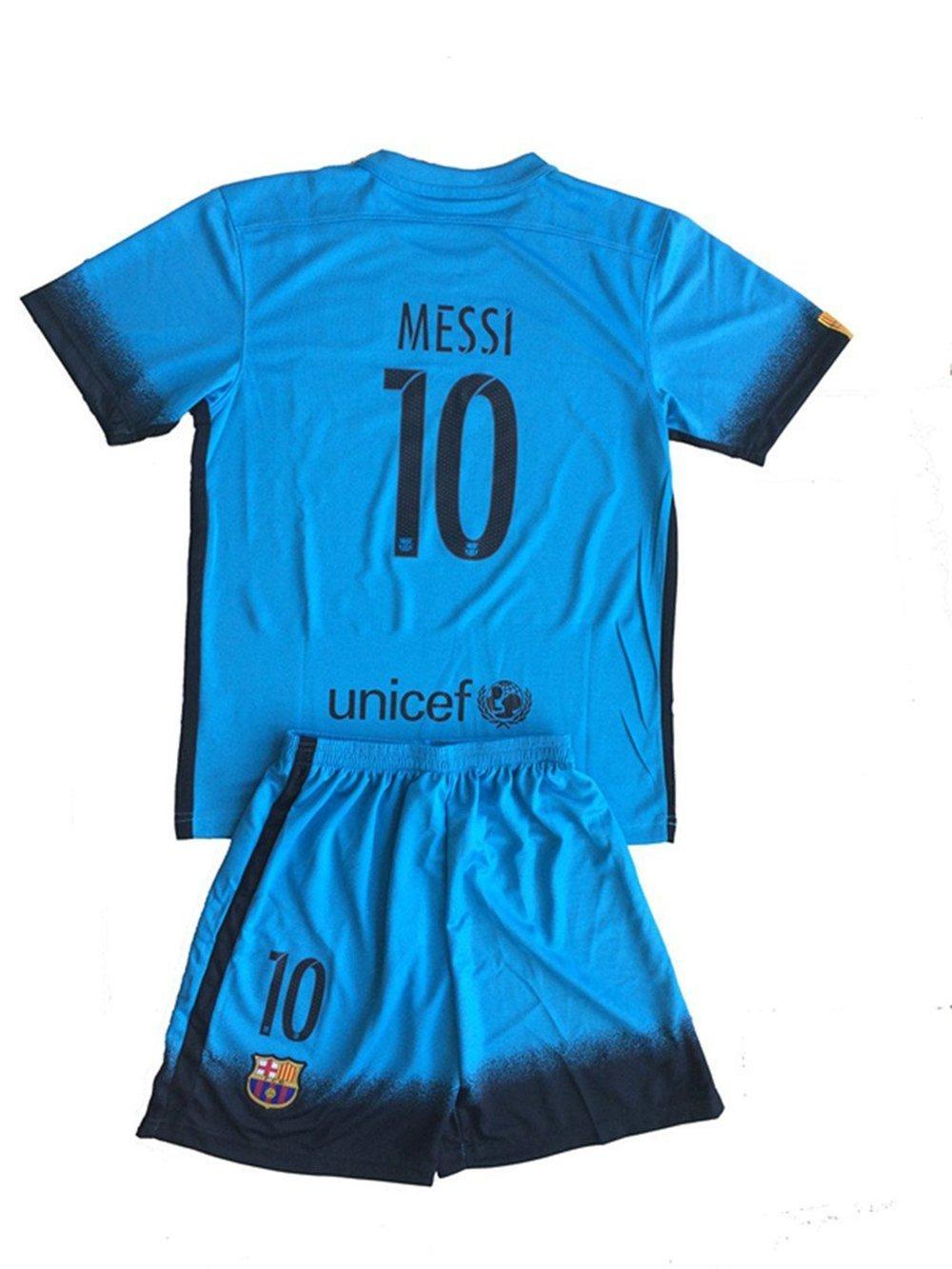 NEW 2015 16 Fc Barcelona Messi  10 Third Away Blue Youths Football Soccer  Kids 2e140c68d