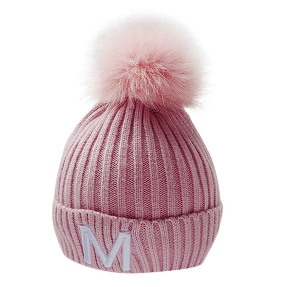 Inkach Baby Knit Hat Hairball Winter Warm Cap Toddler Kids Crochet Knitted Beanie Hats Skull Caps (Pink)