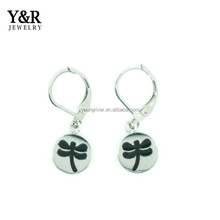 fashion earings for women 2017 stainless steel engraved dragonfly hook earrings
