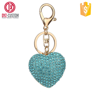 Crystal Heart Key Chain in Silver Heart shaped Crystal Diamond Keychain