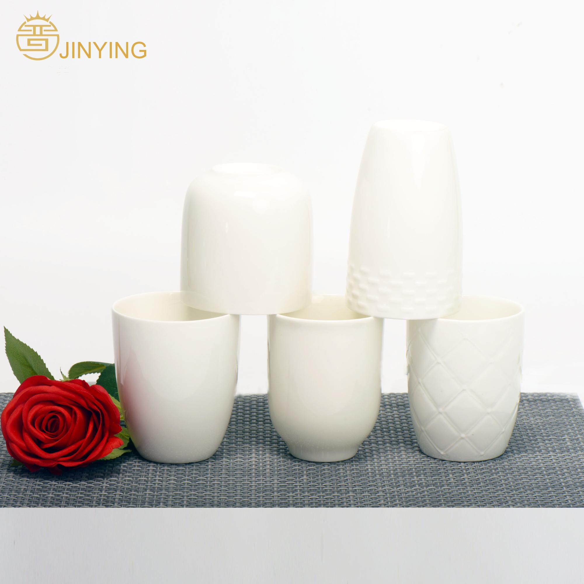 Hot sell 350 420 450 ml white embossed mugs with handle wholesale