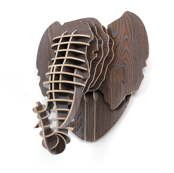 Home Wall Mounted Wooden Elephant Head Decoration