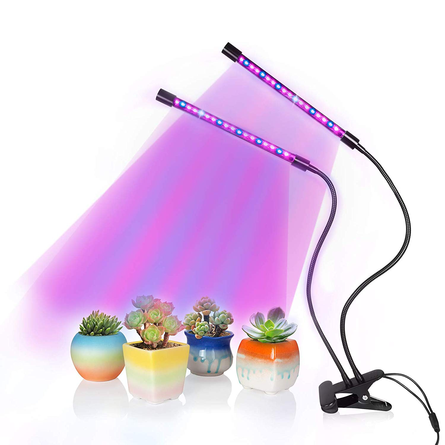 Plant Grows Lamp, SOLOFISH Dual Head 36 LED Full Spectrum Grow Lights with Brightness Adjustable and Timing Function for Plants Hydroponics Greenhouse Garden Home Office