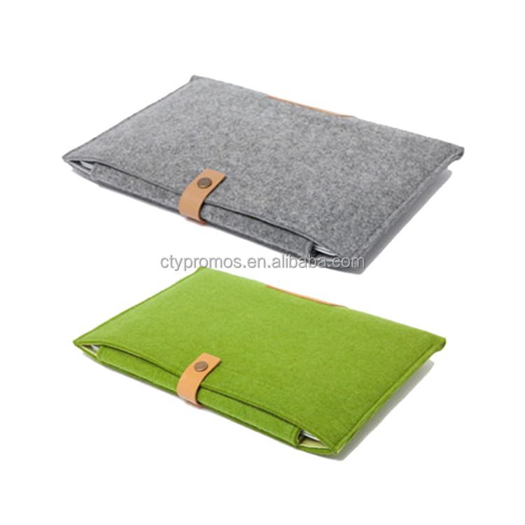 Custom Design Wool Felt Leather Ultrabook Case Laptop Cover Computer Carrying Sleeve Pouch Bag For Laptop and Macbook