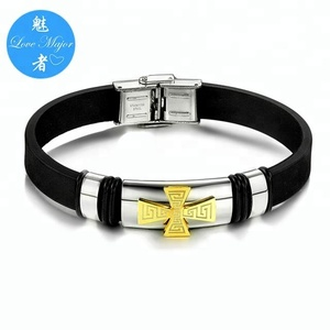Fashion Stainless Steel Silicone Bracelet Jewelry Crusader Cross Design For Man