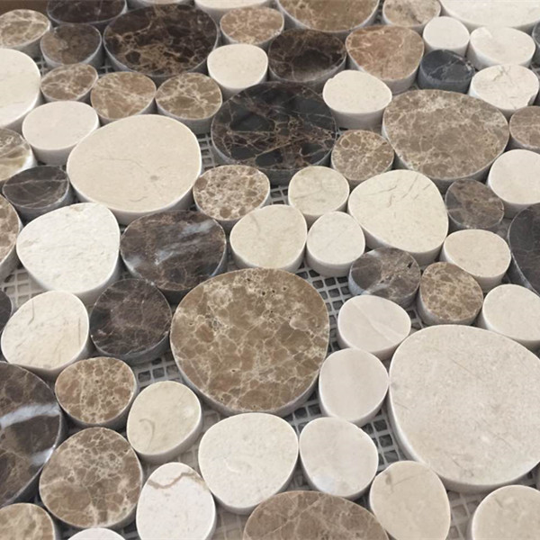 Chinese Cheap Pebble Light Emperador Cobble stone mosaic tile For wall