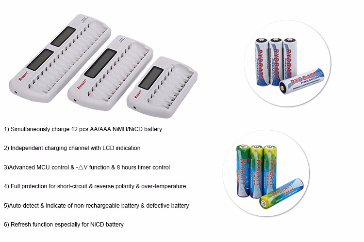 Spring Popular Hot New Products 12 Slot AA/AAA NiMH LCD Smart Charger