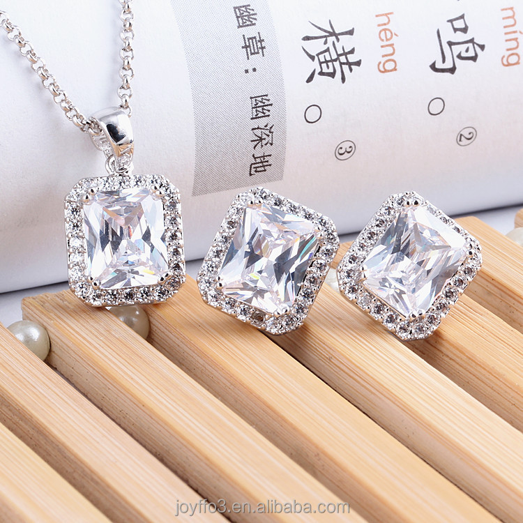 White Gold Plated Square Crystal Pendant Zircon Necklace Earring Wedding Jewelry Set