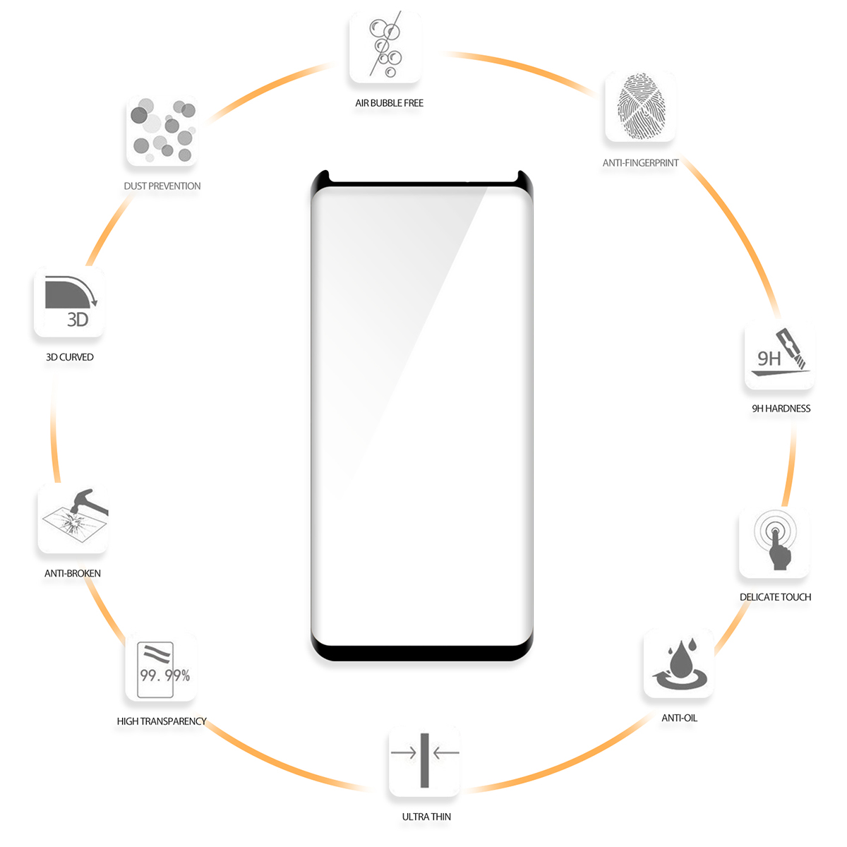 For samsung galaxy s8 plus screen protector 2.5D Curved 9H tempered glass screen guard