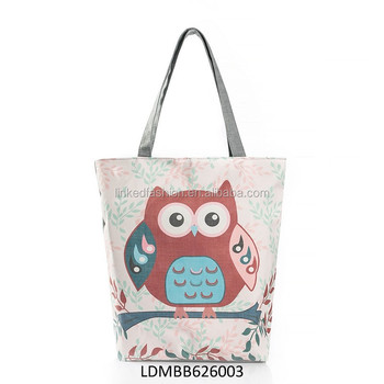 4b410ffe1 Large Beach Bag OWL pattern Thicken Canvas Travel Tote Bag For Women and  Girls