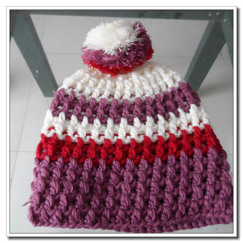 winter warm stripe custom winter hats knitted beanie with pom pom